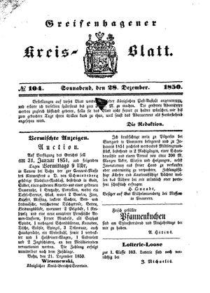 Greifenhagener Kreisblatt vom 28.12.1850