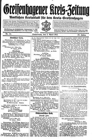 Greifenhagener Kreiszeitung vom 02.04.1914