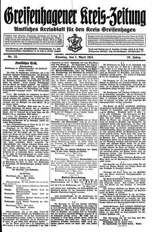 Greifenhagener Kreiszeitung vom 05.04.1914