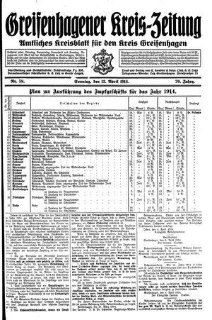Greifenhagener Kreiszeitung vom 12.04.1914