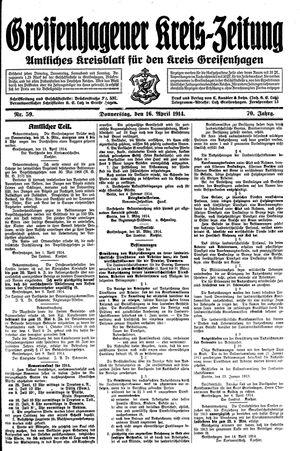Greifenhagener Kreiszeitung vom 16.04.1914