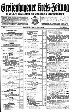 Greifenhagener Kreiszeitung vom 23.04.1914