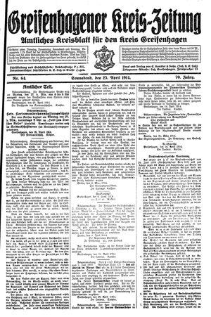 Greifenhagener Kreiszeitung vom 25.04.1914