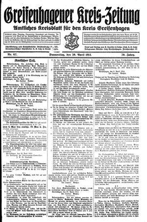 Greifenhagener Kreiszeitung on Apr 30, 1914