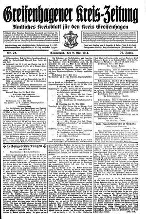 Greifenhagener Kreiszeitung vom 09.05.1914