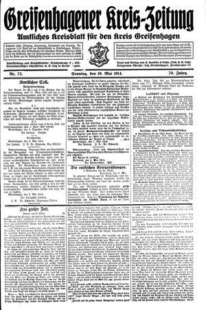Greifenhagener Kreiszeitung vom 10.05.1914