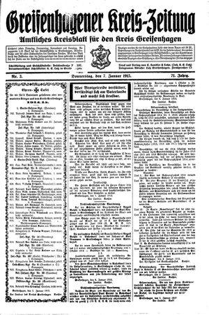 Greifenhagener Kreiszeitung vom 07.01.1915