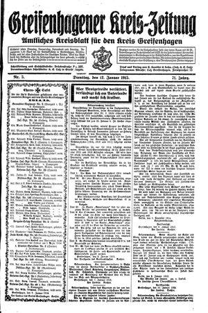 Greifenhagener Kreiszeitung vom 12.01.1915