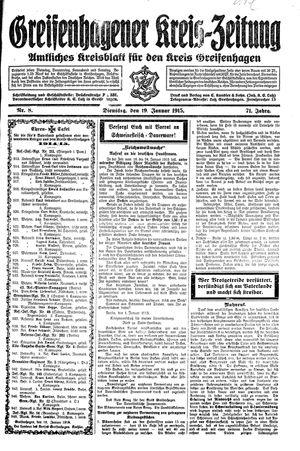 Greifenhagener Kreiszeitung vom 19.01.1915