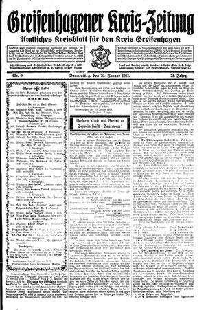 Greifenhagener Kreiszeitung vom 21.01.1915