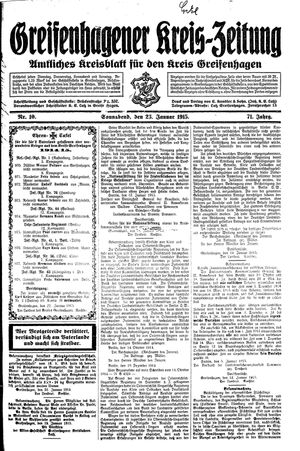 Greifenhagener Kreiszeitung on Jan 23, 1915