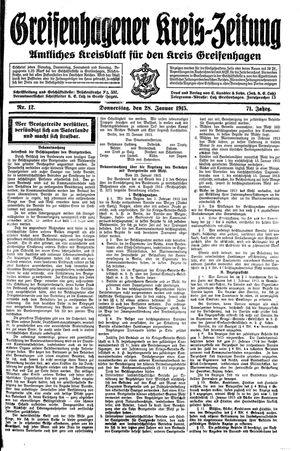 Greifenhagener Kreiszeitung vom 28.01.1915