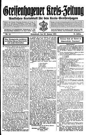 Greifenhagener Kreiszeitung vom 31.01.1915