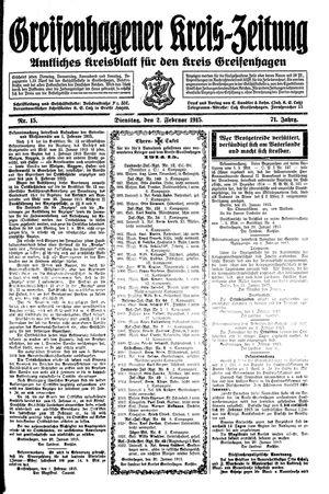 Greifenhagener Kreiszeitung vom 02.02.1915