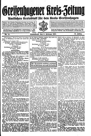 Greifenhagener Kreiszeitung vom 06.02.1915