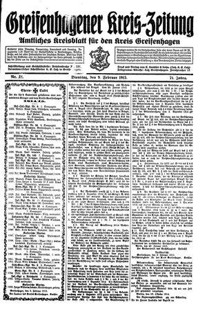 Greifenhagener Kreiszeitung vom 09.02.1915