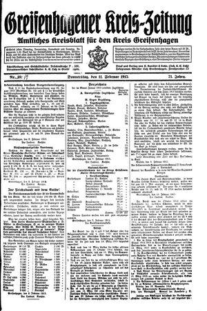 Greifenhagener Kreiszeitung vom 11.02.1915