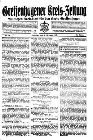 Greifenhagener Kreiszeitung vom 16.02.1915