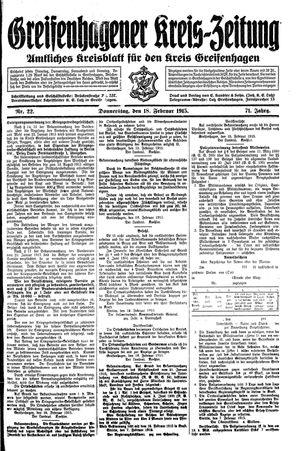 Greifenhagener Kreiszeitung vom 18.02.1915