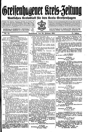 Greifenhagener Kreiszeitung vom 20.02.1915