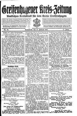 Greifenhagener Kreiszeitung vom 27.02.1915