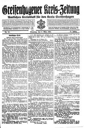 Greifenhagener Kreiszeitung vom 02.03.1915