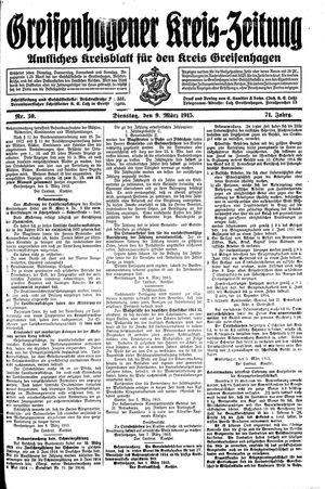 Greifenhagener Kreiszeitung vom 09.03.1915
