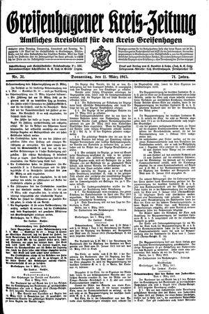 Greifenhagener Kreiszeitung on Mar 11, 1915