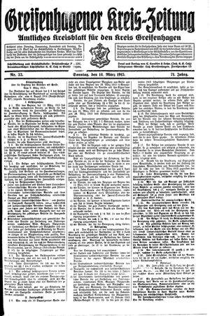 Greifenhagener Kreiszeitung vom 14.03.1915