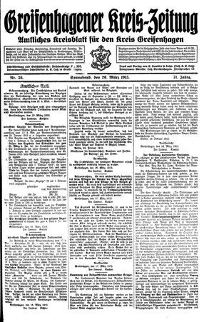 Greifenhagener Kreiszeitung vom 20.03.1915