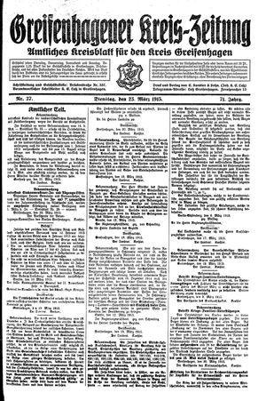 Greifenhagener Kreiszeitung vom 23.03.1915