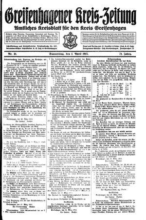 Greifenhagener Kreiszeitung vom 01.04.1915