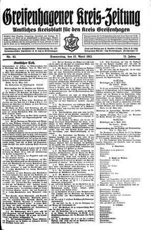 Greifenhagener Kreiszeitung on Apr 13, 1915