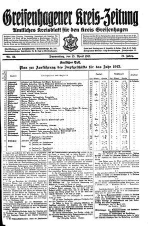 Greifenhagener Kreiszeitung vom 15.04.1915