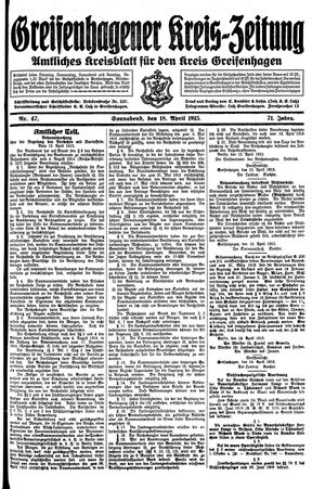 Greifenhagener Kreiszeitung on Apr 18, 1915