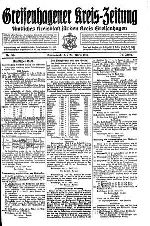 Greifenhagener Kreiszeitung vom 24.04.1915