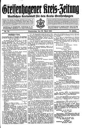Greifenhagener Kreiszeitung vom 29.04.1915