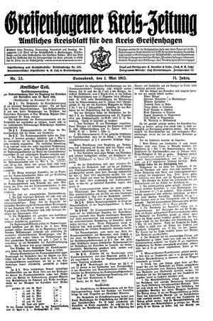 Greifenhagener Kreiszeitung vom 01.05.1915