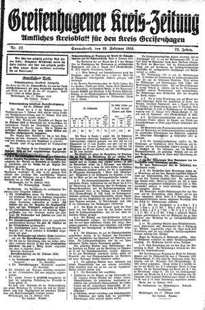 Greifenhagener Kreiszeitung vom 19.02.1916