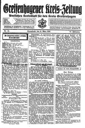 Greifenhagener Kreiszeitung vom 11.03.1916