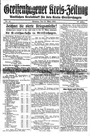 Greifenhagener Kreiszeitung vom 12.03.1916