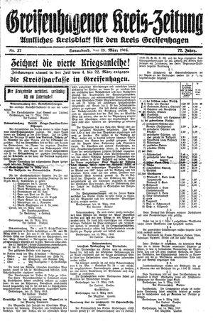 Greifenhagener Kreiszeitung vom 18.03.1916