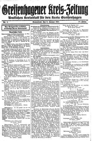 Greifenhagener Kreiszeitung vom 06.01.1917