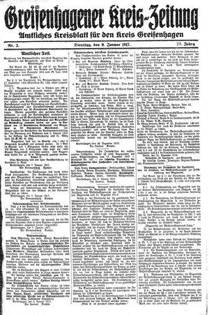 Greifenhagener Kreiszeitung vom 09.01.1917