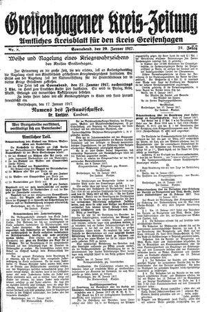 Greifenhagener Kreiszeitung vom 20.01.1917