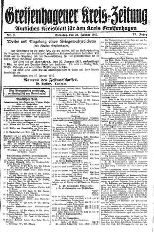 Greifenhagener Kreiszeitung vom 23.01.1917