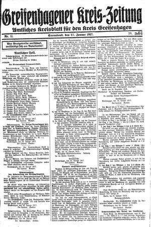 Greifenhagener Kreiszeitung vom 27.01.1917