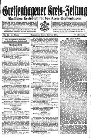 Greifenhagener Kreiszeitung vom 03.02.1917