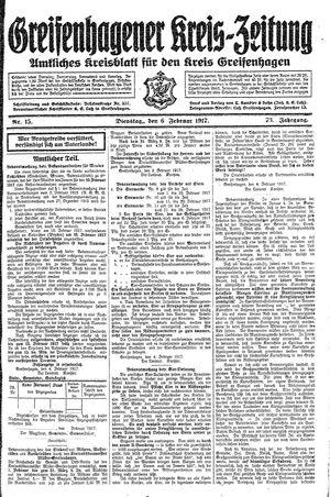 Greifenhagener Kreiszeitung vom 06.02.1917