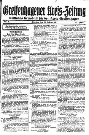 Greifenhagener Kreiszeitung vom 20.02.1917
